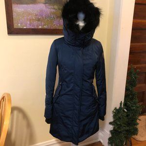Noize S/P Midnight Blue Quilted Hooded Long Coat